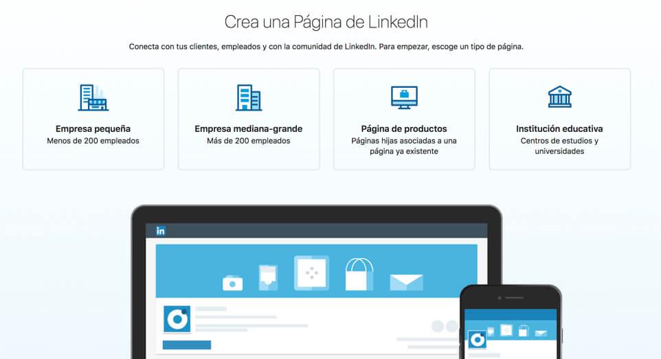 crear una página de linkedin
